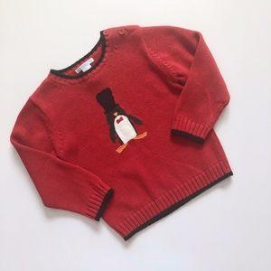 Boys Janie & Jack Red Black Penguin Sweater 3